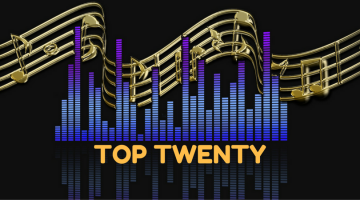 Top Twenty equalizer graphic with musci notes