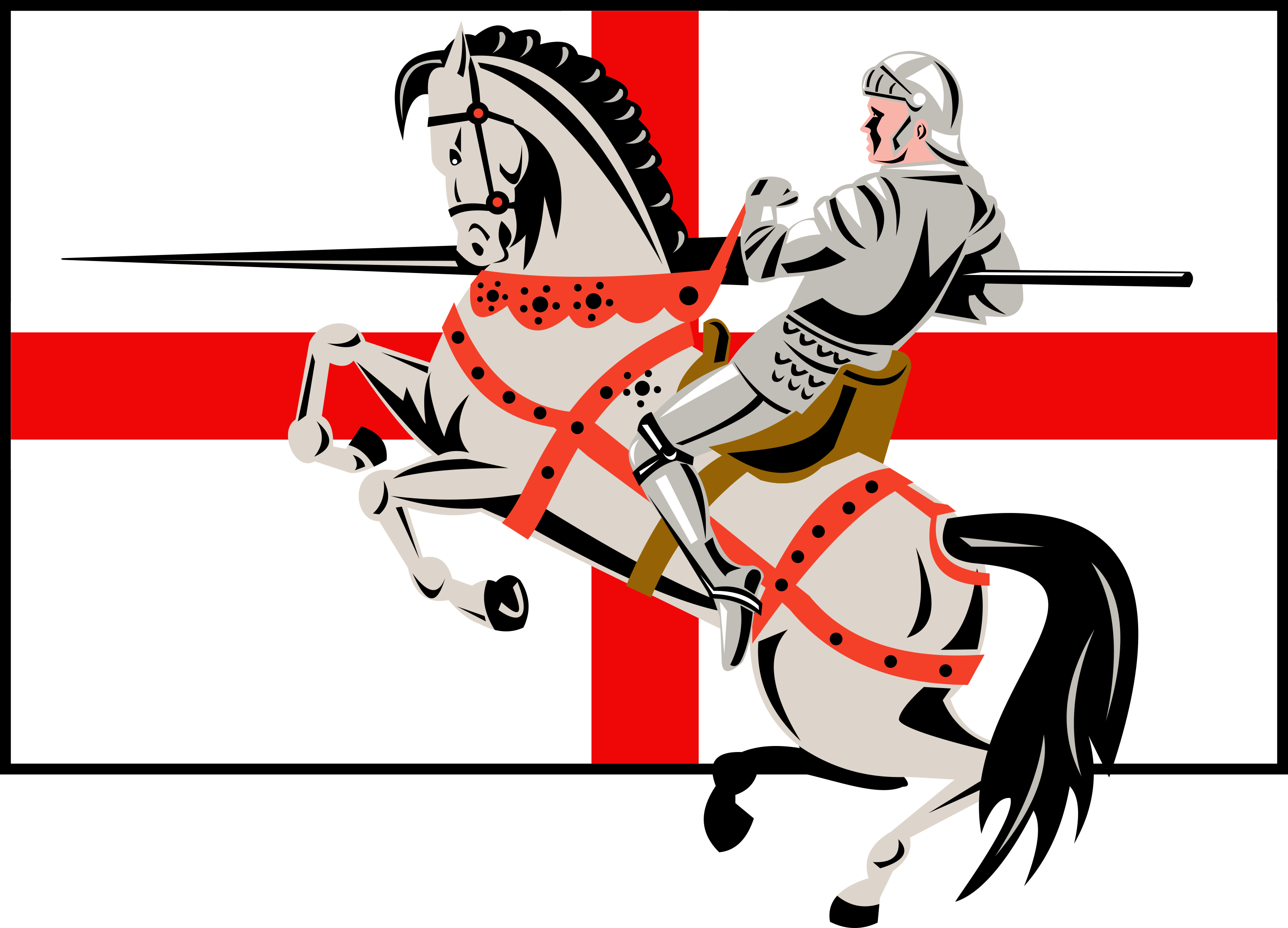 St George in front of the English flag