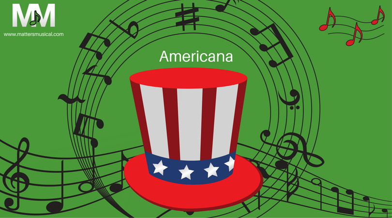 Music notes behind an American top hat