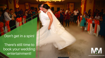 Bride and groom dancing in a spin. Wedding entertainment